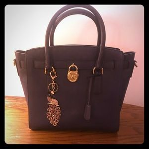 Michael Kors large leather Hamilton purple satchel